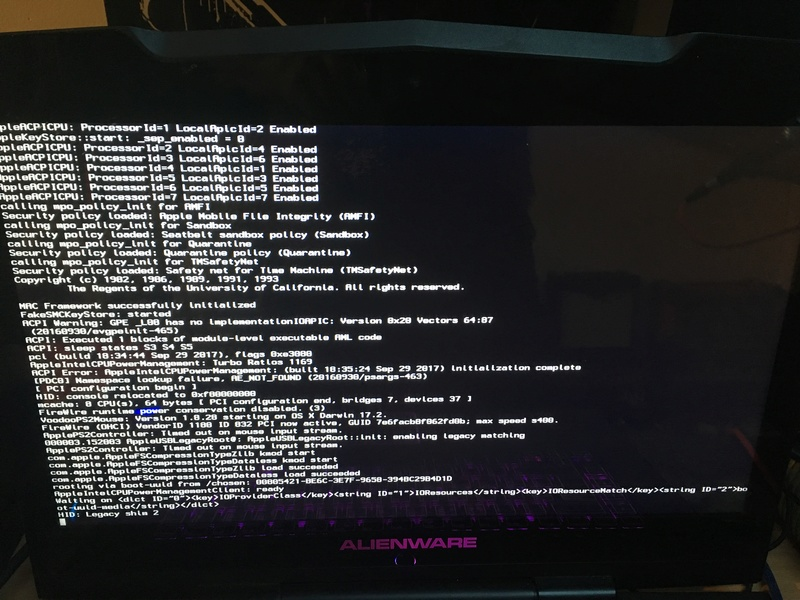 Problème d'installation Alienware m15x High sierra 1818a110