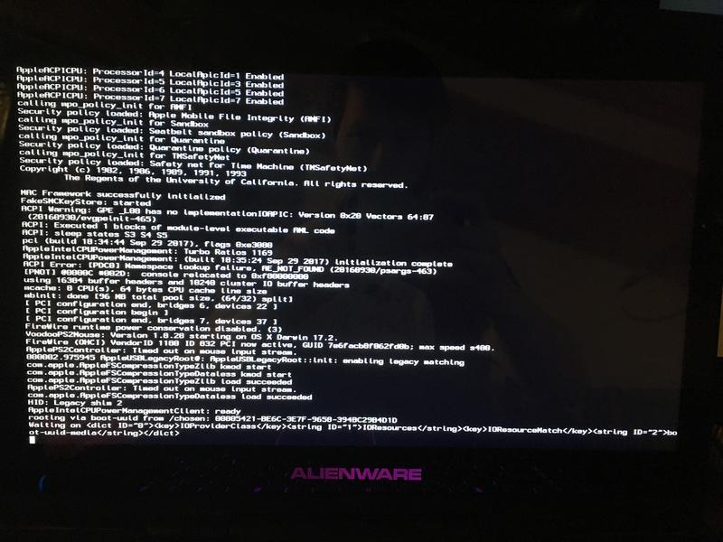 Problème d'installation Alienware m15x High sierra F30c8010