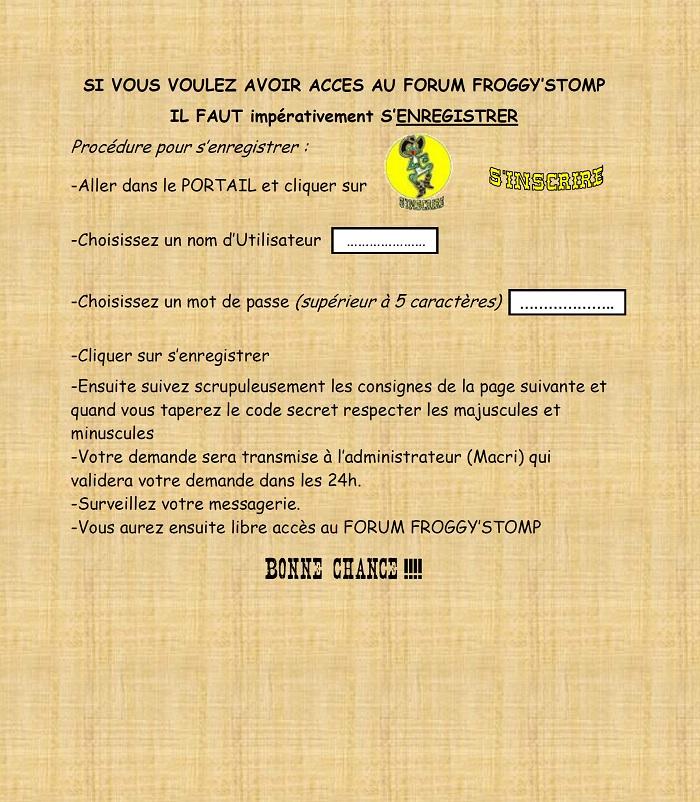 créer un forum : FROGG'STOMP - Portail S_insc10