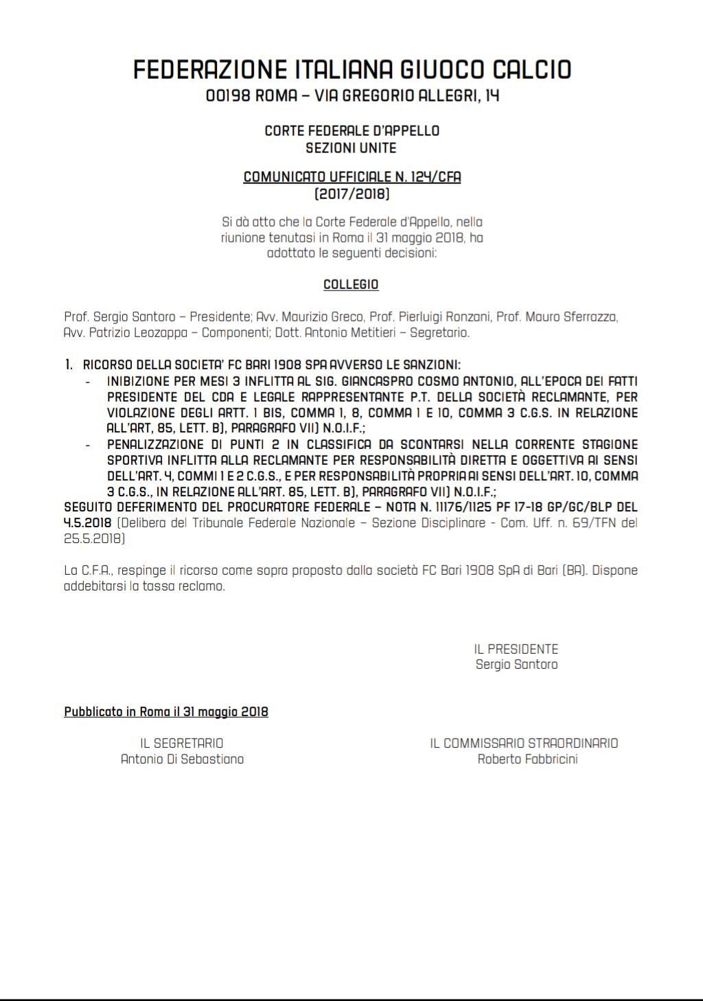 Bari, respinto il ricorso in Appello Img_2010