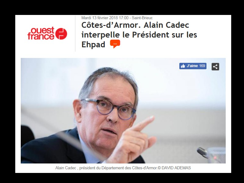 Côtes-d'Armor. Alain Cadec interpelle le Président sur les Ehpads ...  144