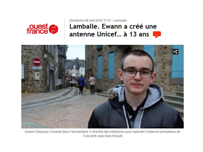 Lamballe. Ewann a créé une antenne Unicef… à 13 ans Sans1108