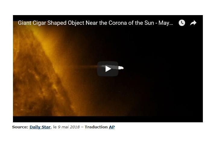 Un bel ovni en forme de cigare photographié aux abords du Soleil Sans1322