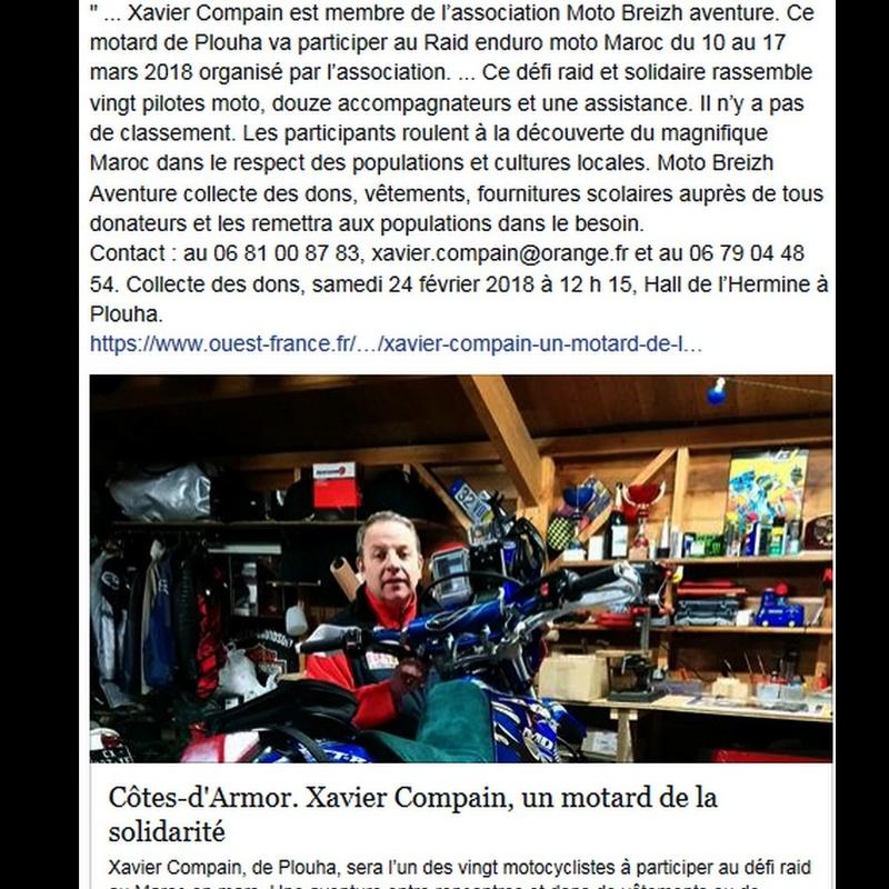 Côtes-d'Armor. Xavier Compain, un motard de la solidarité Sans_945