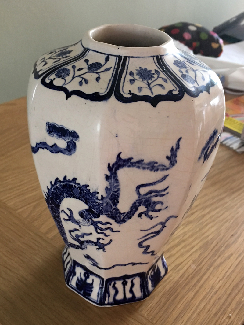 Flow Blue Dragon Vase with funny mark V111
