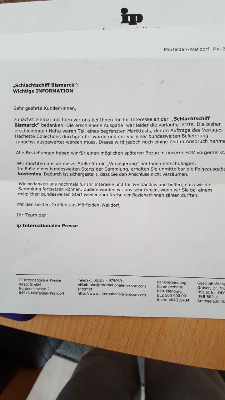 Allgemeines zur Metall-Bismarck von Hachette Ip12