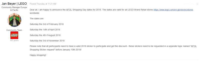 2018 AFOL Shopping Day dates  110