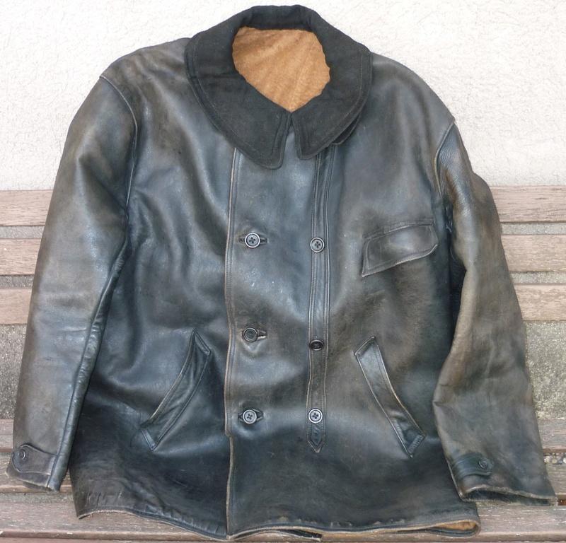 pantalon cuir très ancien à estimer (aéronautique, pompier ww1 ?) Veste_10