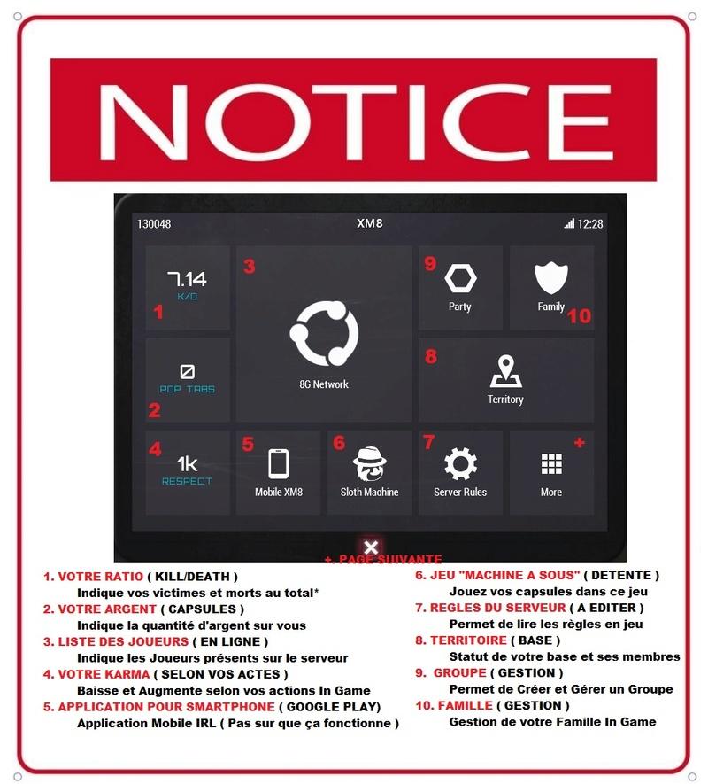 Utilisations de la tablette XM8 Notcie10