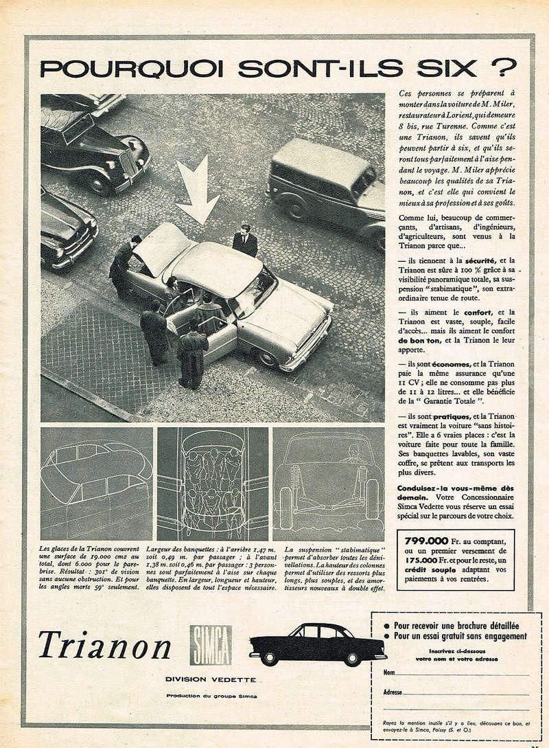 Publicités de  Magazines sur les  Simca Vedette 1017