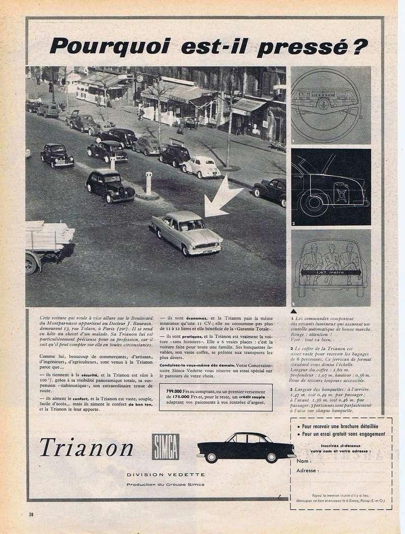 Publicités de  Magazines sur les  Simca Vedette 1117