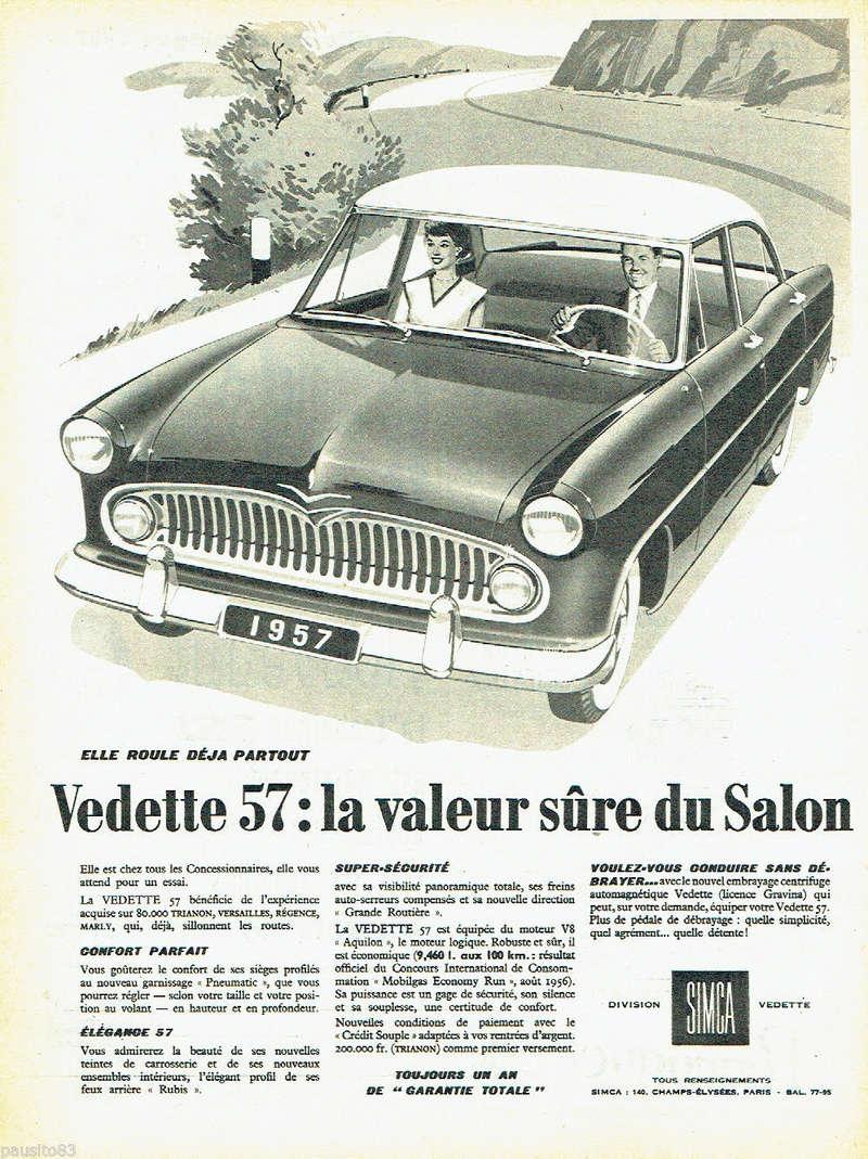 Publicités de  Magazines sur les  Simca Vedette 320