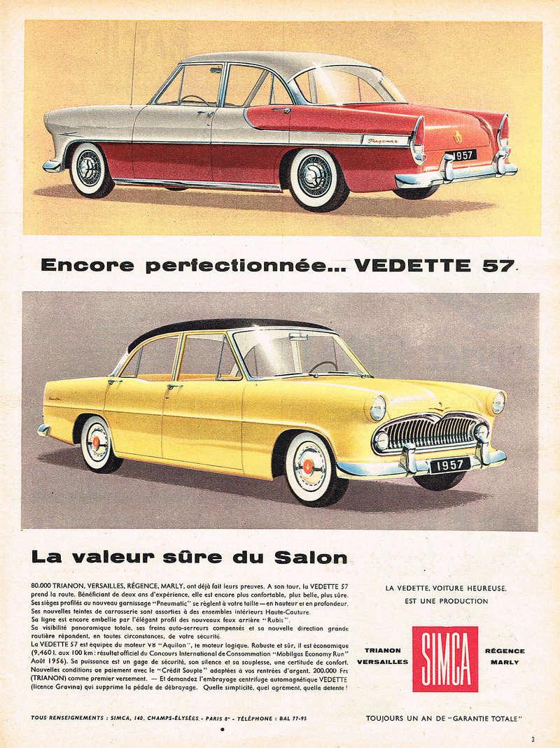 Publicités de  Magazines sur les  Simca Vedette 419