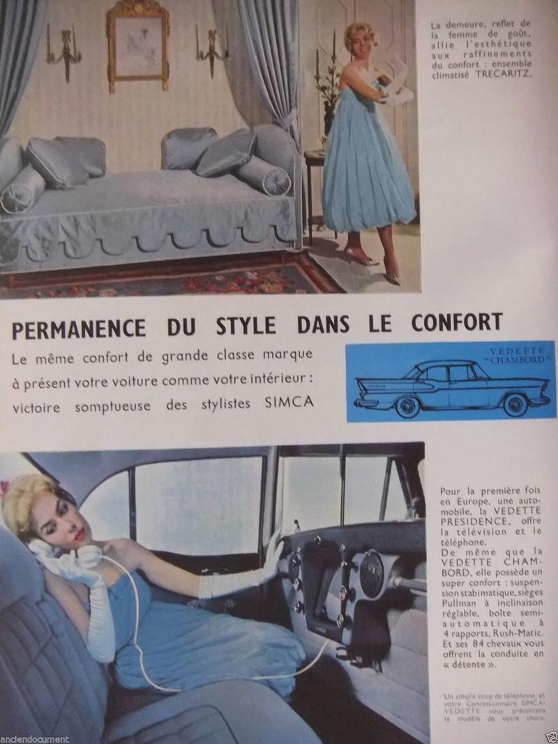 Publicités de  Magazines sur les  Simca Vedette 618