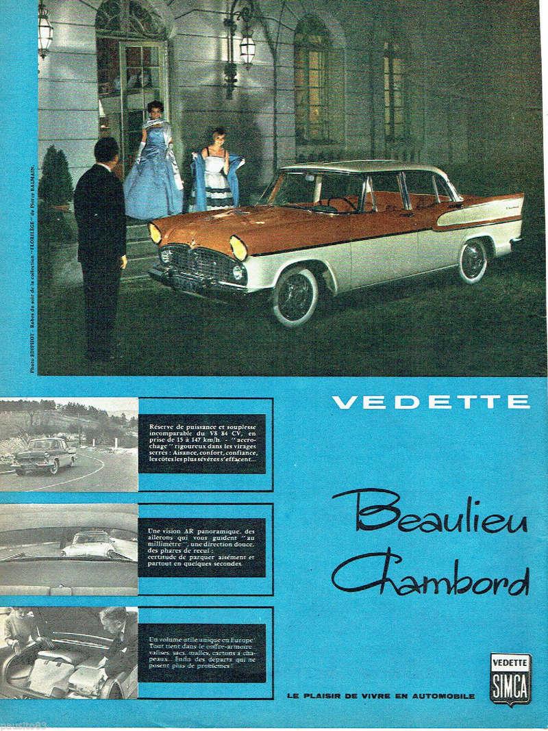 Publicités de  Magazines sur les  Simca Vedette 718