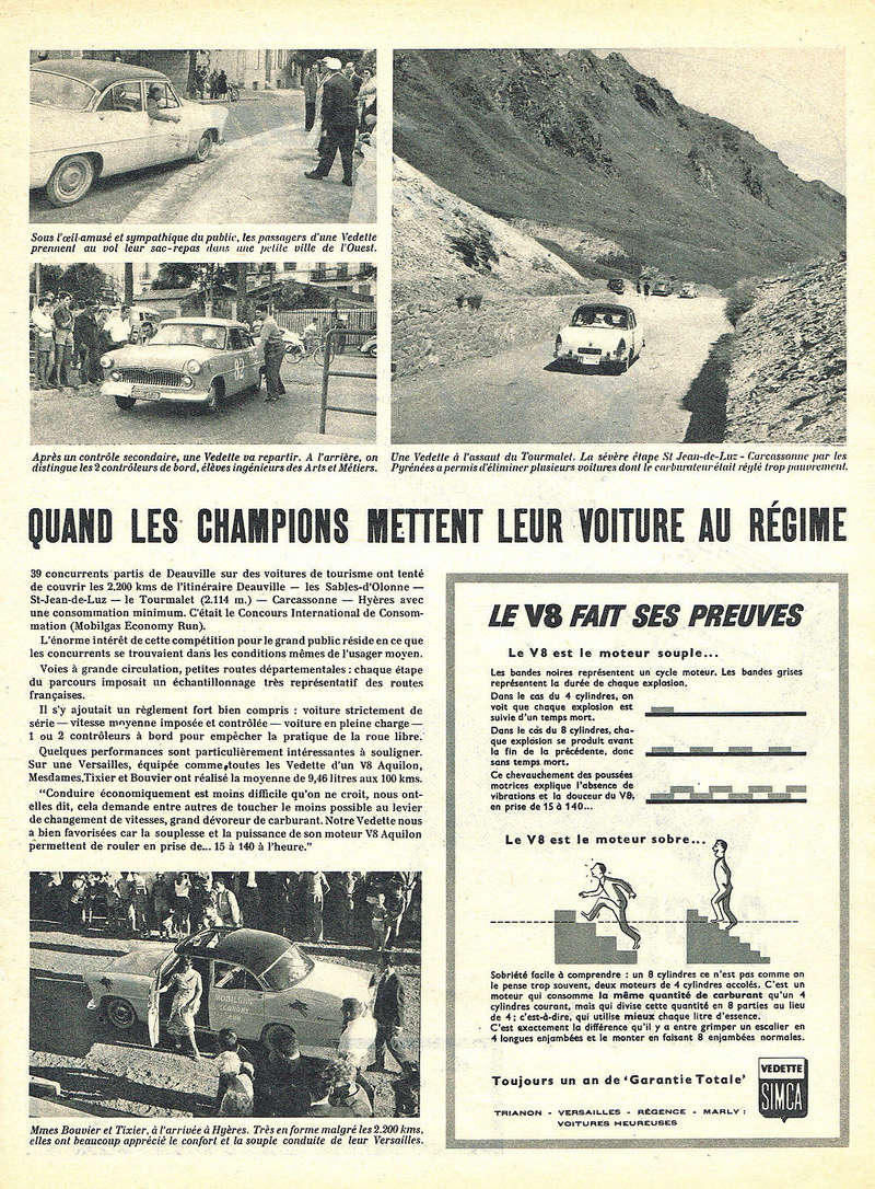 Publicités de  Magazines sur les  Simca Vedette 917