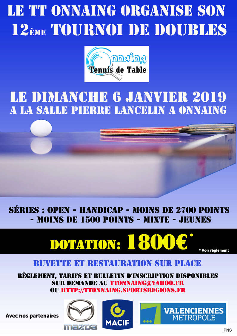 Tournoi de Doubles du TT ONNAING le Dimanche 06 Janvier 2019 Affich11