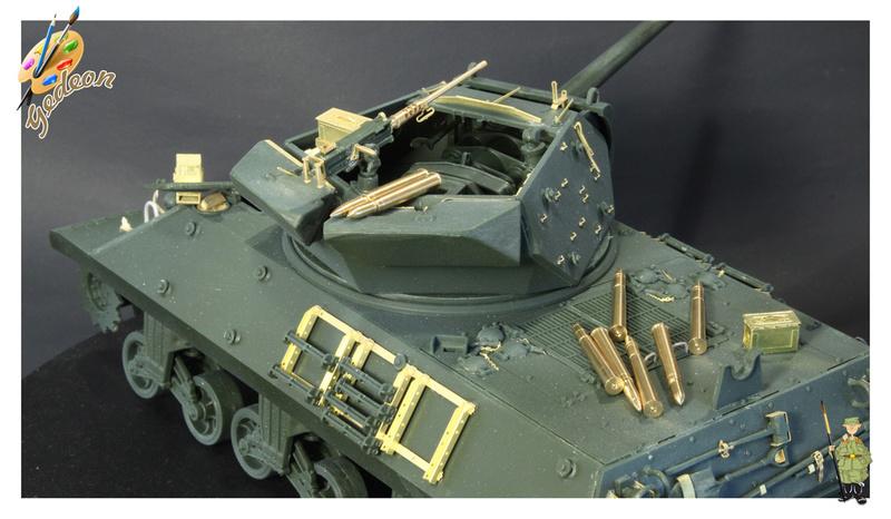 US.M10 Tank destroyer au 1/35 de la marque ACADEMY Mise en place équipements Img_0710