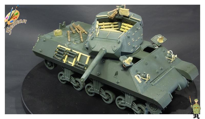 US.M10 Tank destroyer au 1/35 de la marque ACADEMY Mise en place équipements Img_0711