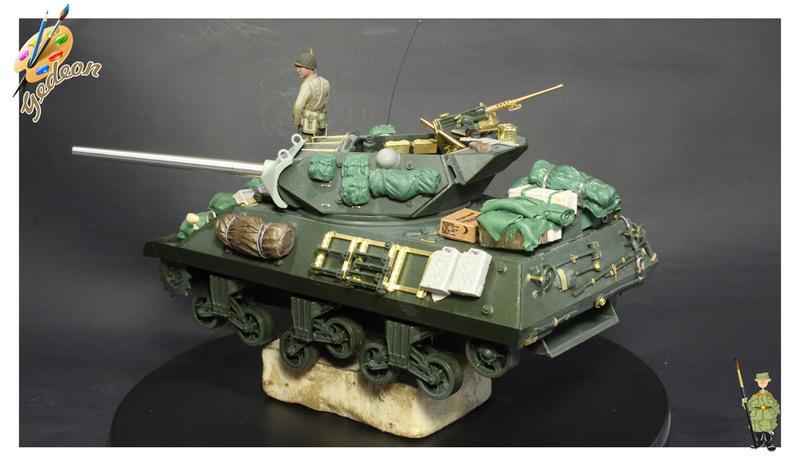 US.M10 Tank destroyer au 1/35 de la marque ACADEMY Mise en place équipements Img_0912