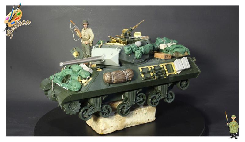 US.M10 Tank destroyer au 1/35 de la marque ACADEMY Mise en place équipements Img_0914