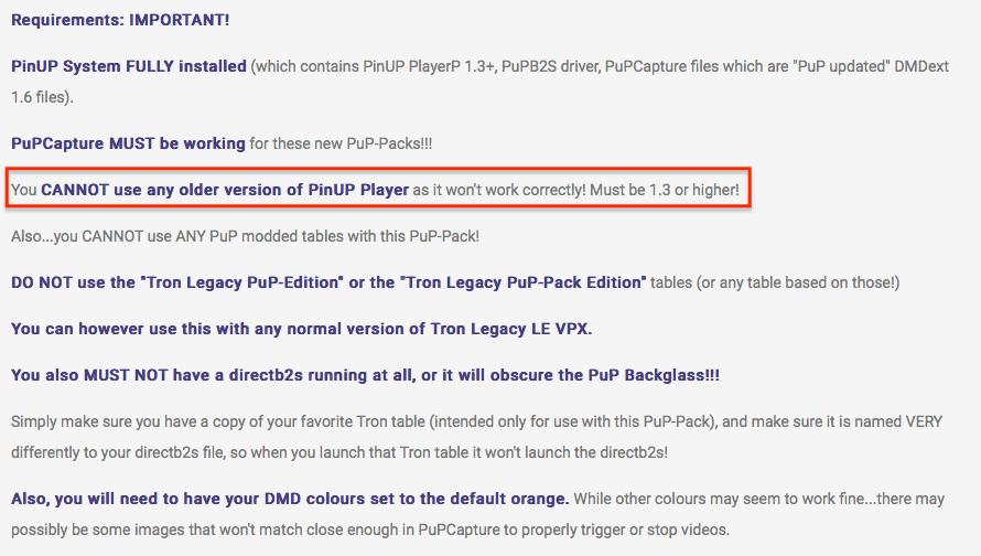 [SUPPORT] Tron Legacy LE / PuP Captur64