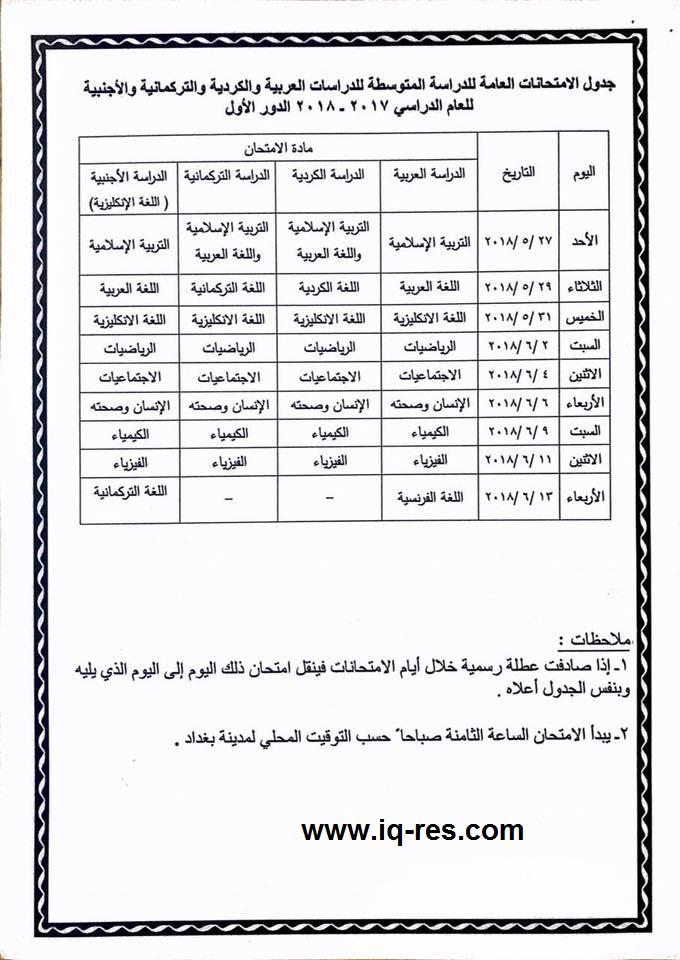 جدول امتحانات الصف الثالث متوسط الدور الاول 2018 وزارة التربية 29025810