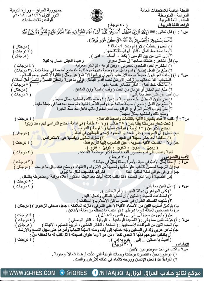 نموذج ورقة اسئلة اللغة العربية للصف الثالث متوسط 2018 الدور الاول O_oa10