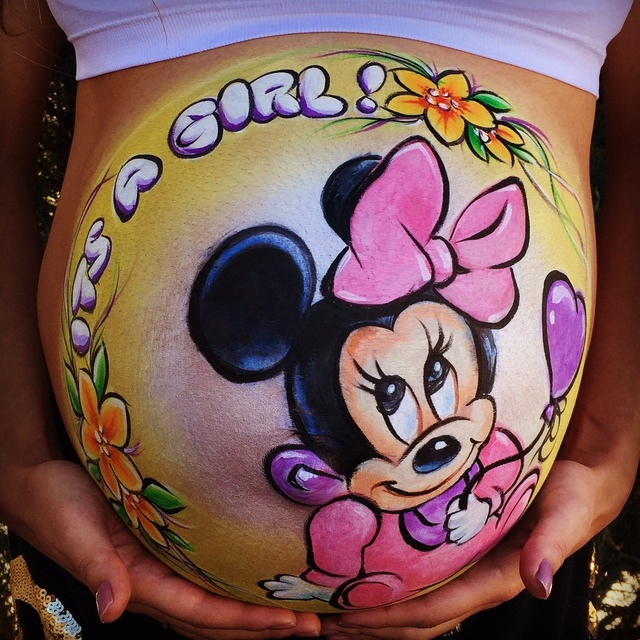 Baby Minnie Belly Painting Babymi12