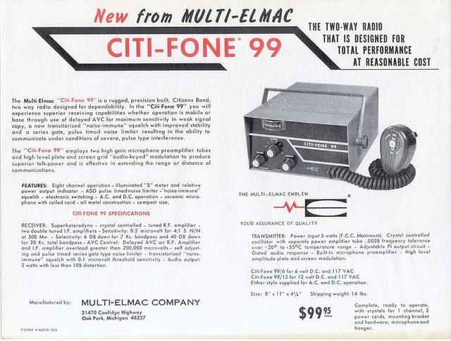 Multi-Elmac Citi-Fone 99 (Mobile/Base) Citi-f12