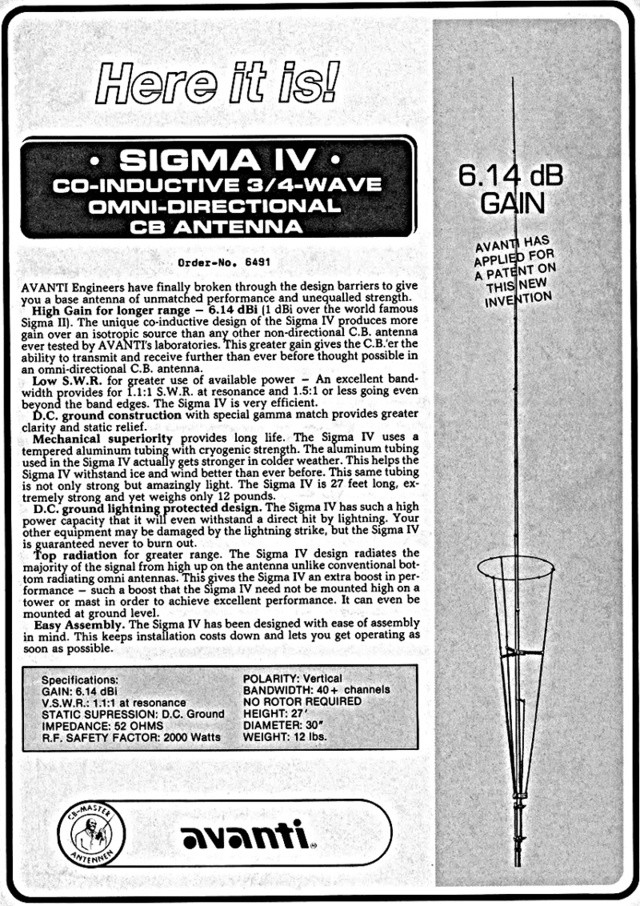 Avanti Sigma 4 (Antenne fixe) Sigma410