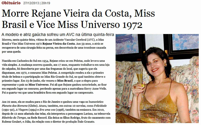rejane goulart (rejane vieira), top 2 de miss universe 1972 (11/15/1954 - 12/26/2013). † Homena10