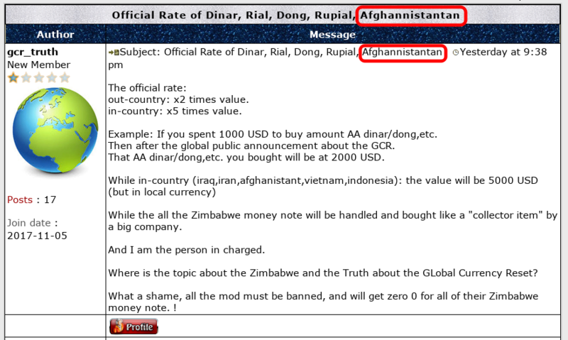 Official Rate of Dinar, Rial, Dong, Rupial, Afghani Screen64