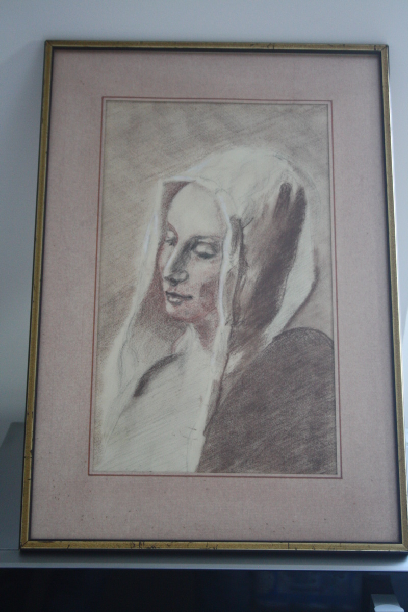 Dessin trois crayons - portrait de jeune femme Img_1810