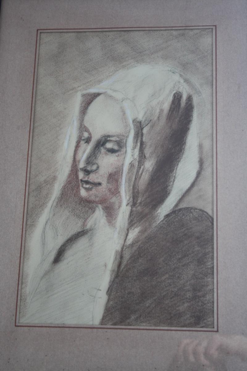 Dessin trois crayons - portrait de jeune femme Img_1814