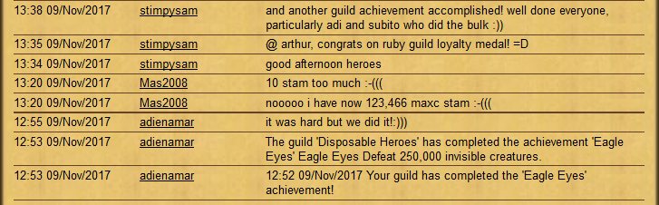 Another awesome Guild Achievement achieved! - 9 November 2017 Guilda10