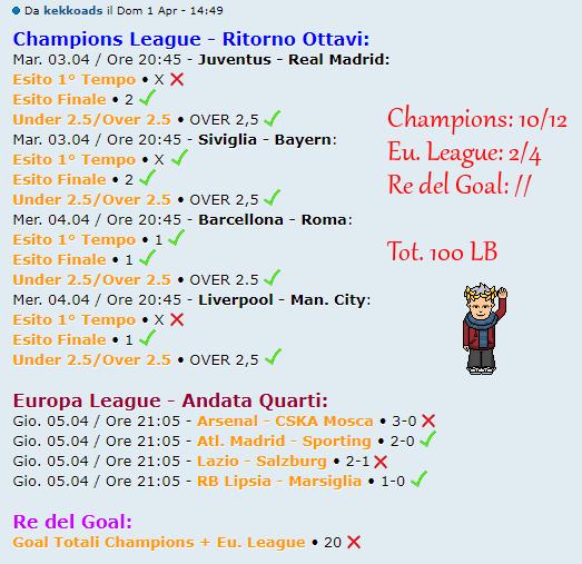 [RISULTATI] Andata Quarti   Champions & Eu. League   Vincitori! Kkk10