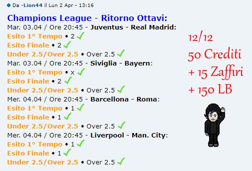 [RISULTATI] Andata Quarti   Champions & Eu. League   Vincitori! Lion4410