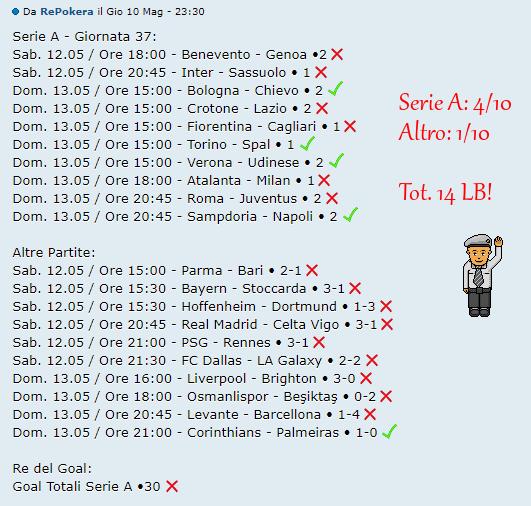 [RISULTATI] 37^ Giornata di Serie A + Altre Partite | Vincitori! Pokera10
