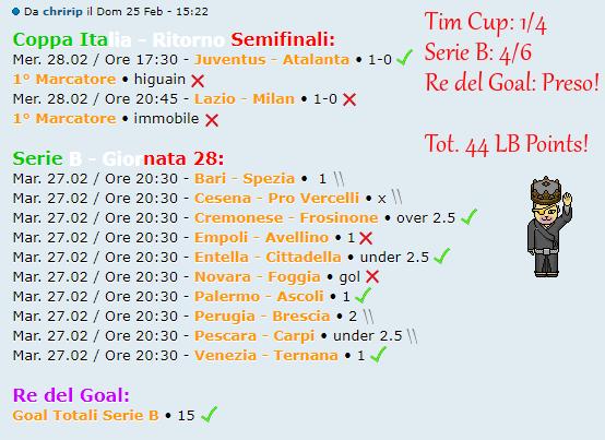 [RISULTATI] Tim Cup - Ritorno Semifinali + Serie B   Vincitori! Schedi10