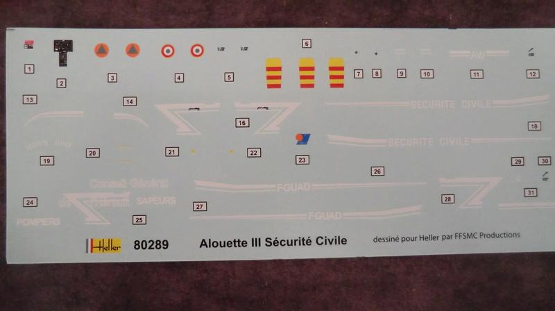 montage Alouette III sécurité civile Heller 1/72 Alouet12