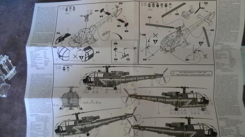 montage Alouette III sécurité civile Heller 1/72 Alouet16
