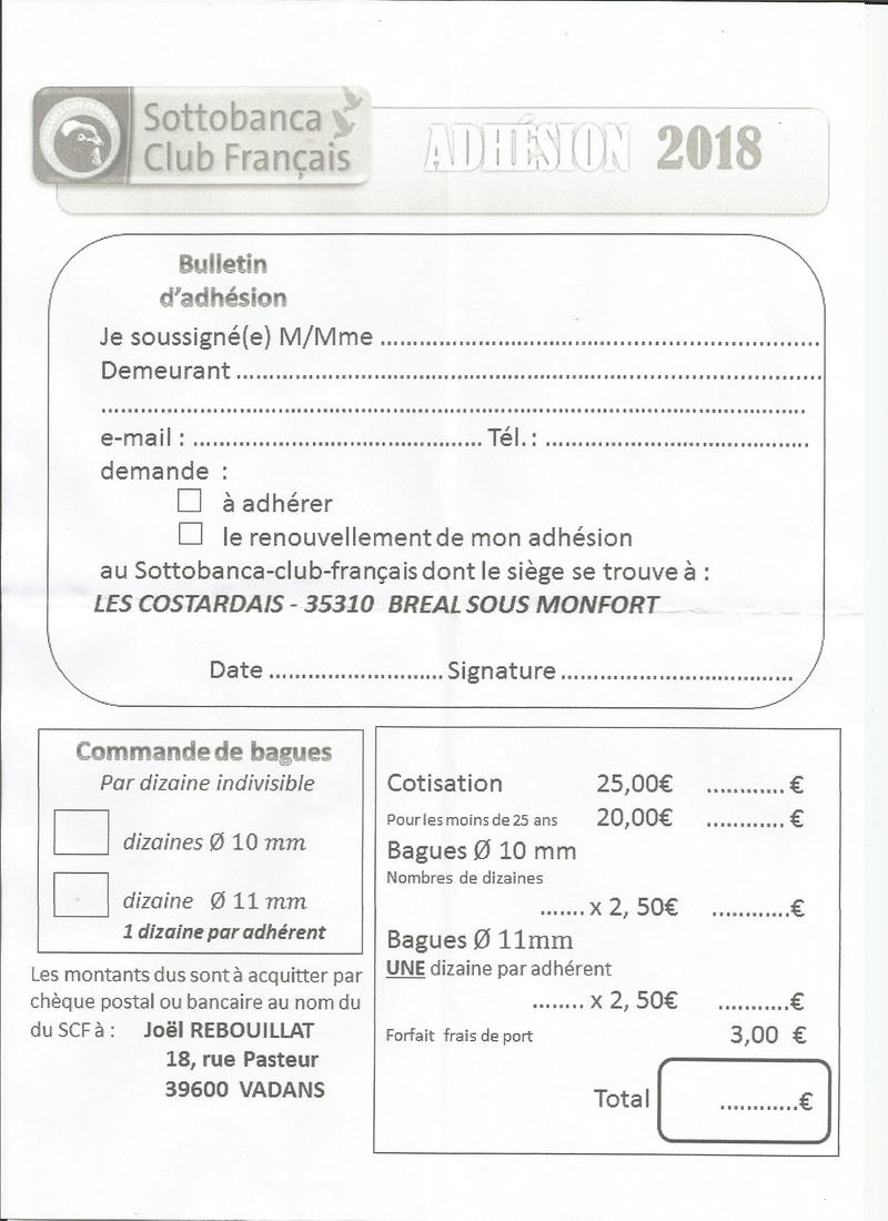 feuille ADHÉSION  AU CLUB DU SOTTOBANCA POUR 2018 Numyri10