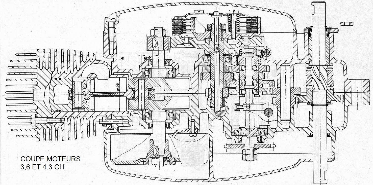 dépose complet moteur flandria 4,3cv à 4vitesse a main Flandr43