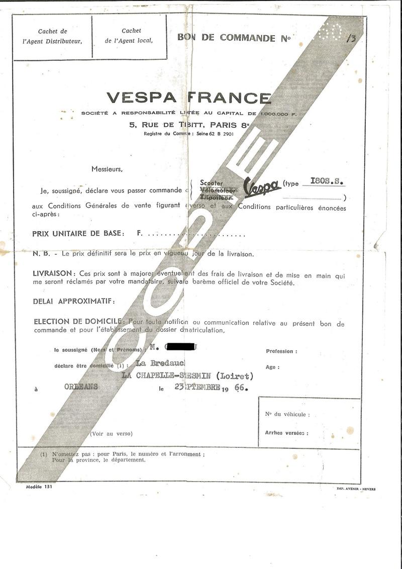 Vespa 180SS documents d'époque Bon_de10