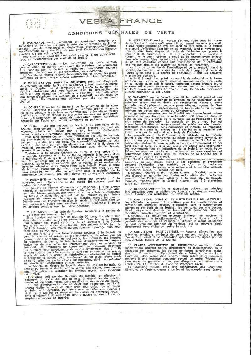 Vespa 180SS documents d'époque Bon_de11