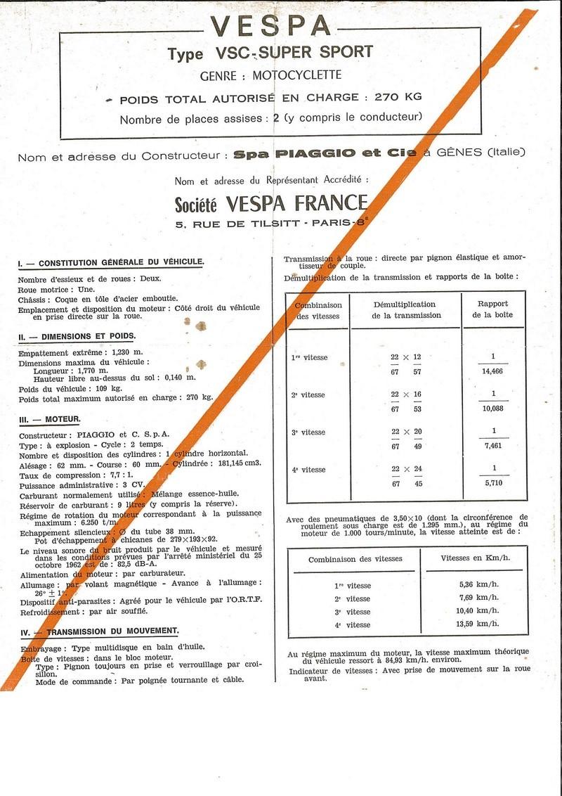Vespa 180SS documents d'époque Certfi10