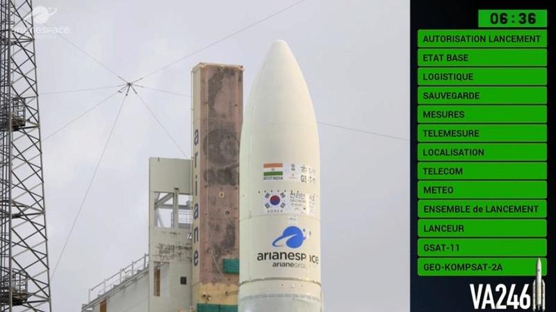 Ariane 5 ECA VA246 (GSAT-11 + GEO-KOMPSAT-2A) - 4.12.2018 Scree454