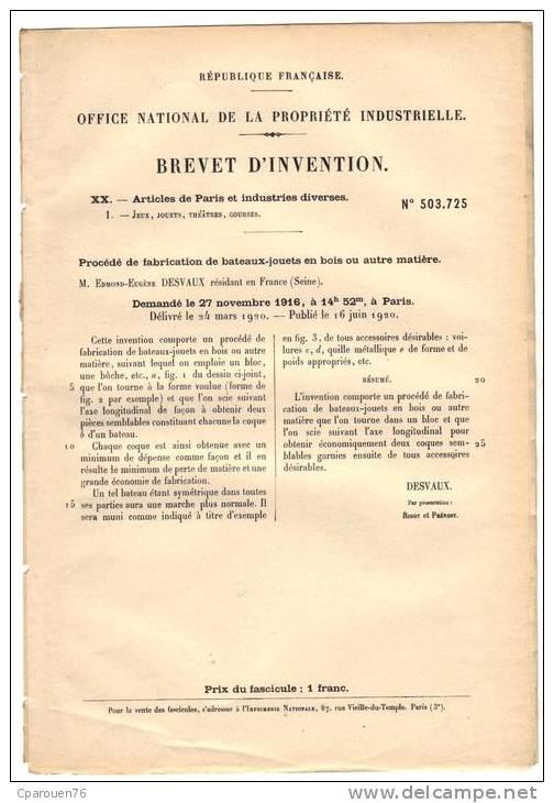 Brevet d'invention 842_0011