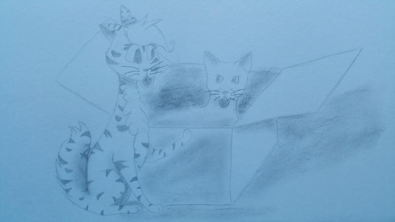Grasjunges zeichnet Katzen und Wölfe  15079810